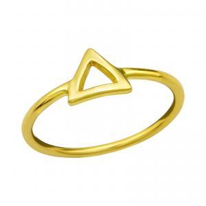 Ring i guldpläterat äkta silver - Trekant