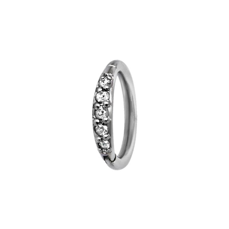 Tunn ring till piercing - Clicker med vit kristall