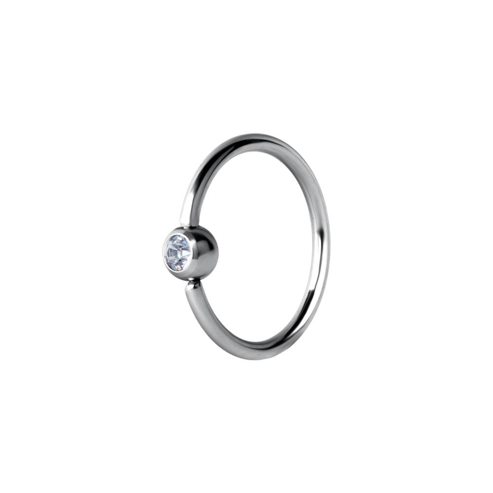Tunn ring med kristall - Seamless ring i kirurgiskt stål  - Piercingsmycke