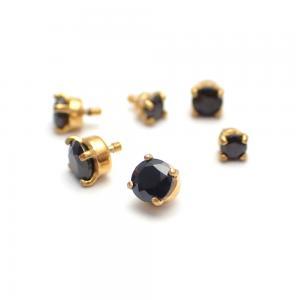 Svart Kristall - Topp till piercing PVD Guld