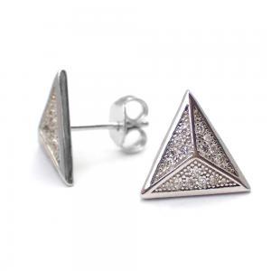 Silverörhängen - Trekant med Kristaller