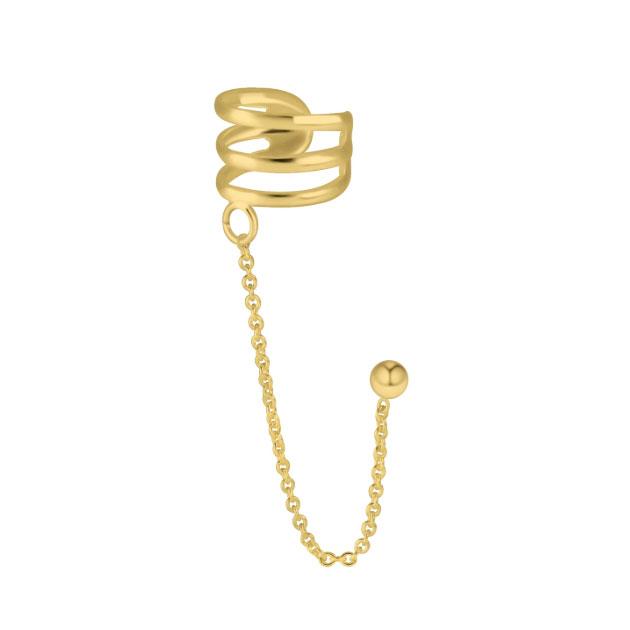 Örhänge och Ear Cuff med kedja -18k guldplätering