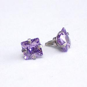Lila fyrkantig Kristall - Topp i Kirurgiskt stål - Piercingsmycke