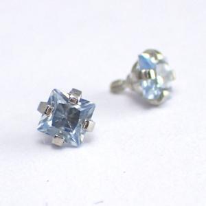 Vit fyrkantig kristall - Topp i Kirurgiskt stål - Piercingsmycke