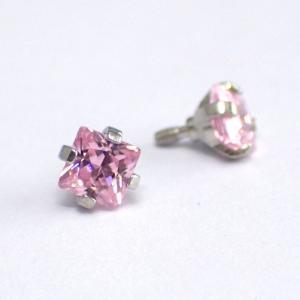Rosa fyrkantig kristall - Topp i Kirurgiskt stål - Piercingsmycke