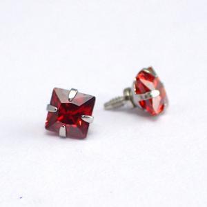 Röd fyrkantig kristall - Topp i Kirurgiskt stål - Piercingsmycke