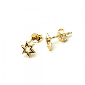 Örhängen Studs - Stjärna - Guldpläterat Silver