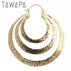 Triple Flat Hoop, Gold Plated