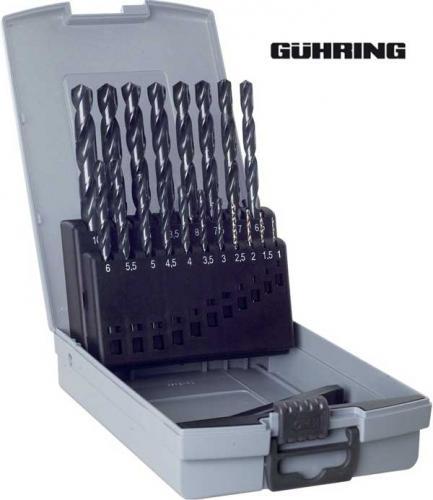 Spiralborrsats 1-10 mm 19 st HSS slipade Gühring