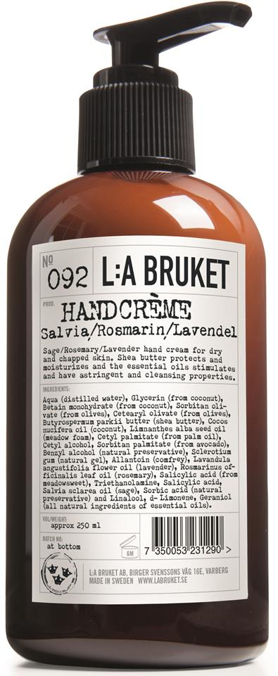 L:A Bruket Handcréme Salvia/Rosmarin/Lavendel