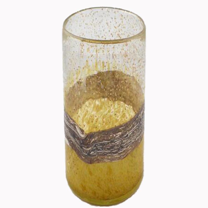 Glasvas cylinder senapsguld