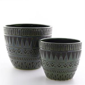 Kruka Kairo set/2 stor grön/svart