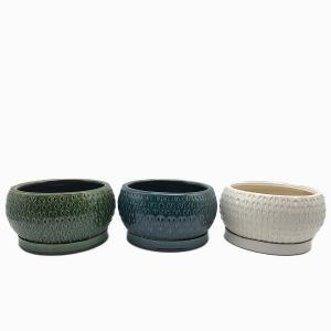 Keramikskål Saigon med fat grön