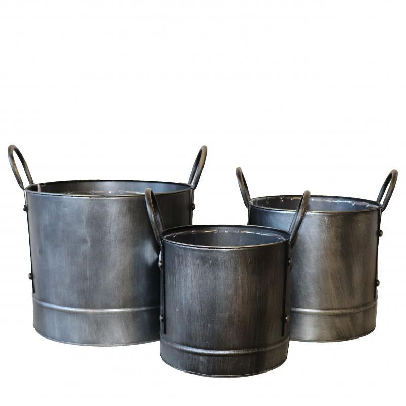 Metallkruka set/3 stor grafit