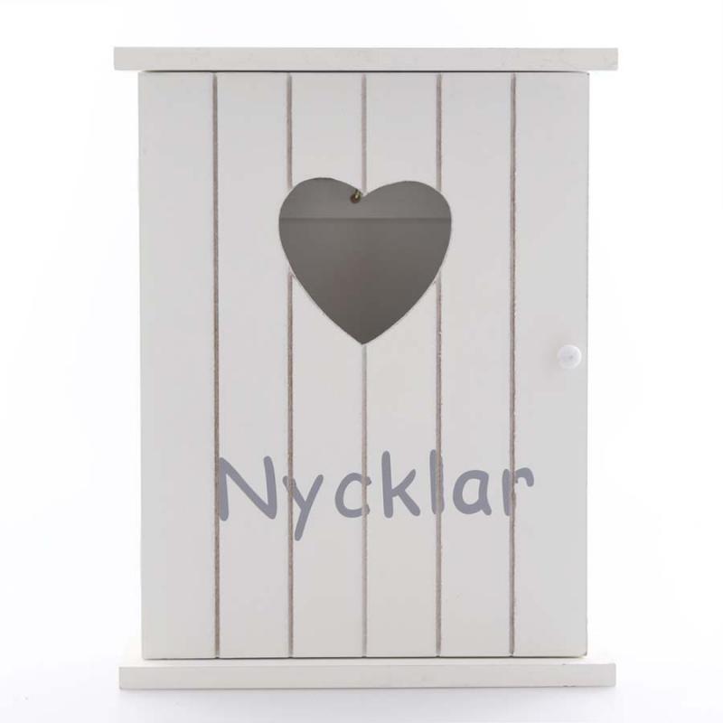 Nyckelskåp vit med hjärta