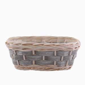 Planteringskorg oval gråvit