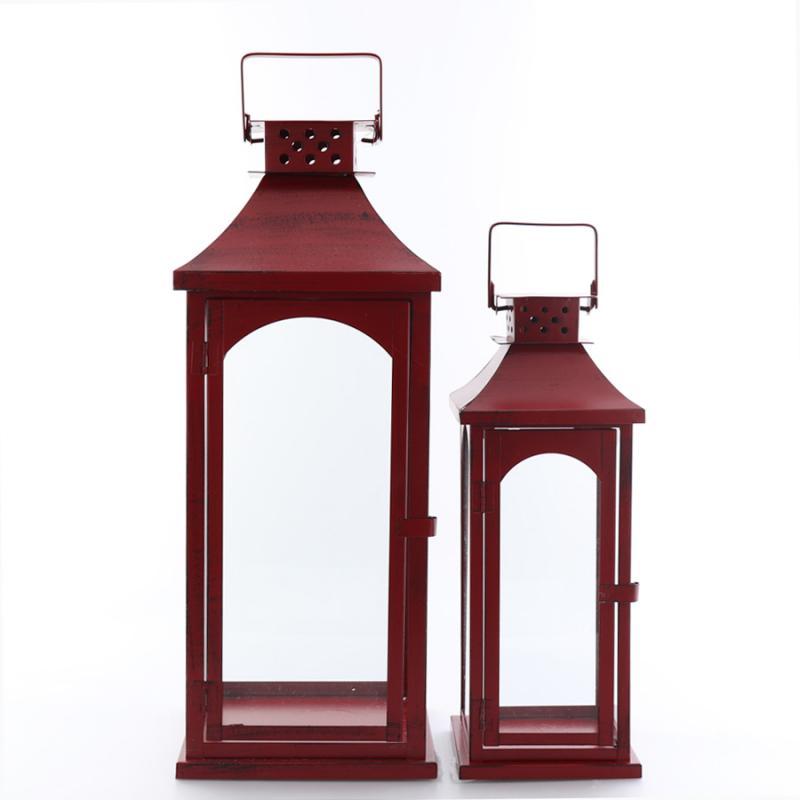 Plåtlykta set/2 antik röd