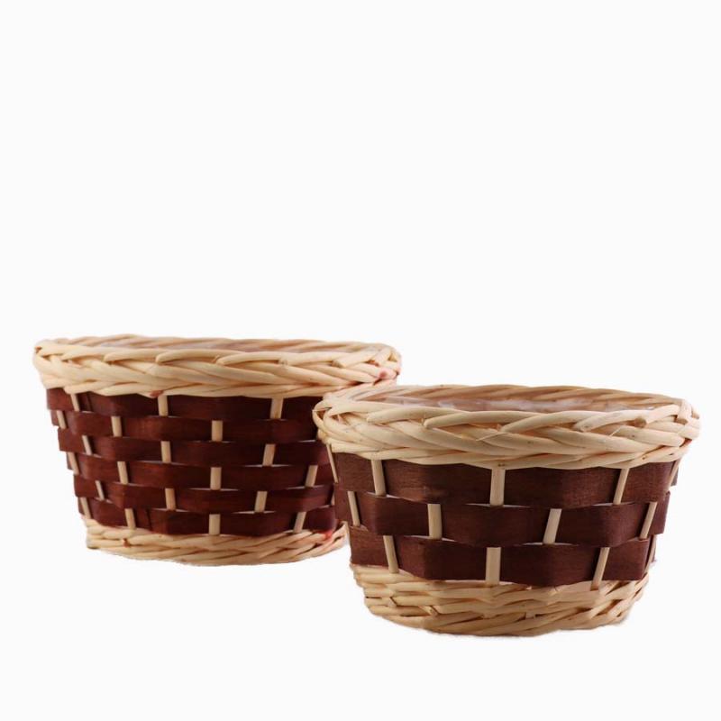 Planteringskorg set/2 rund brun,vit