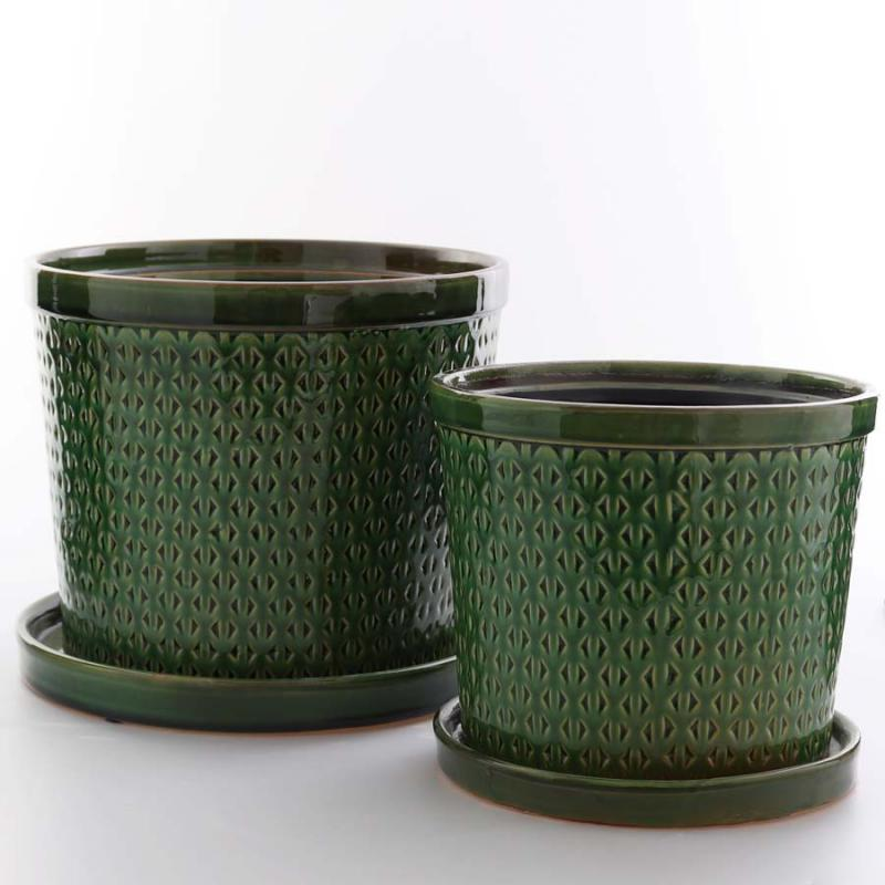 Kruka Saigon Set/2 stora med fat grön