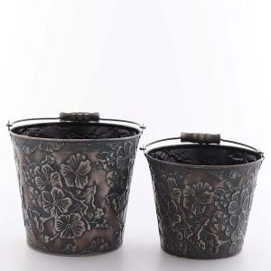 zinkhink set/2 blommig gråsvart
