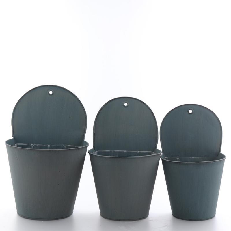 Zinkvägg set/3 gråblå