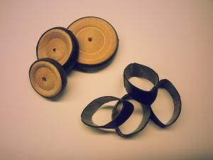 Gummidäck till trähjul, 12st/fp