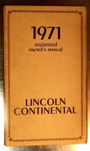 1971 Lincoln Continental owners manual