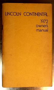1972 Lincoln Continental owners manual