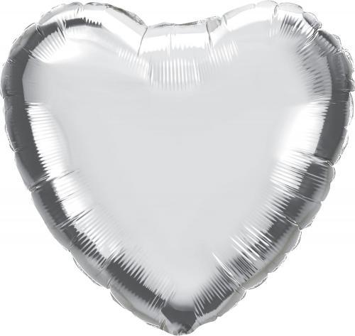 """36"""" (90 cm) Hjärta Silver"""