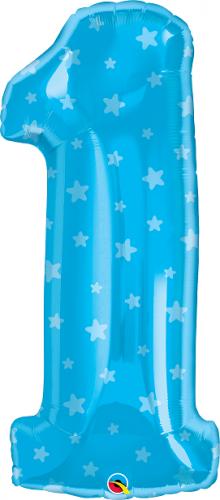 """34"""" (86 cm) Sifferballong 1 Blå Stjärnor"""