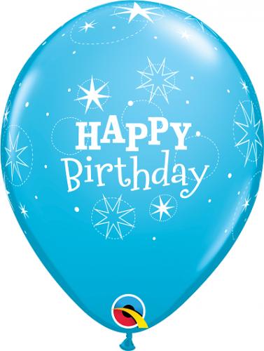 "11"" (28 cm) Happy Birthday Blå"