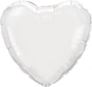 """18"""" (46 cm) Hjärta Vit"""