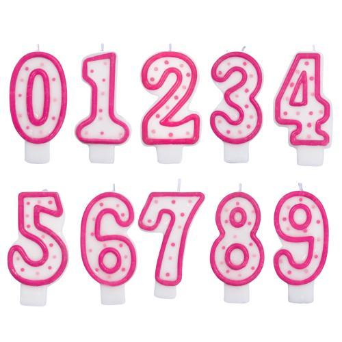 Tårtljus, Pink Polka Dot, 0-9