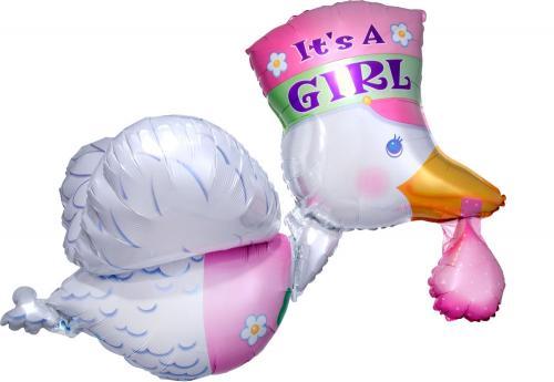 "32"" (81 cm) It's a Girl Stork"