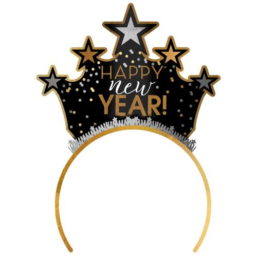 Tiara Happy New Year Black Silver Gold