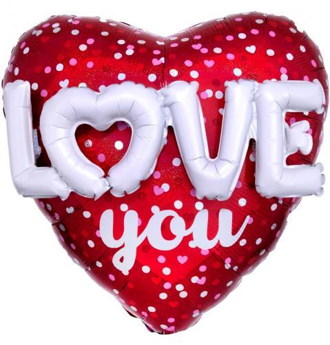 "36"" (90 cm) Love Hearts & Dots Multiballong"