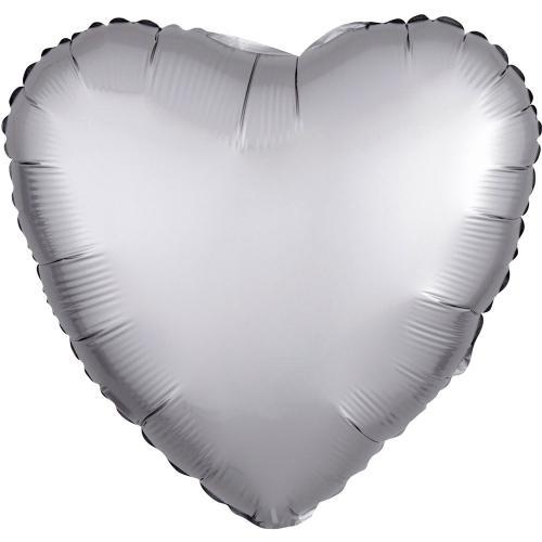 """17"""" (43 cm) Hjärta Satin Luxe Silver"""