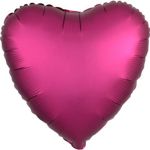 """17"""" (43 cm) Hjärta Satin Luxe Pomegranade"""