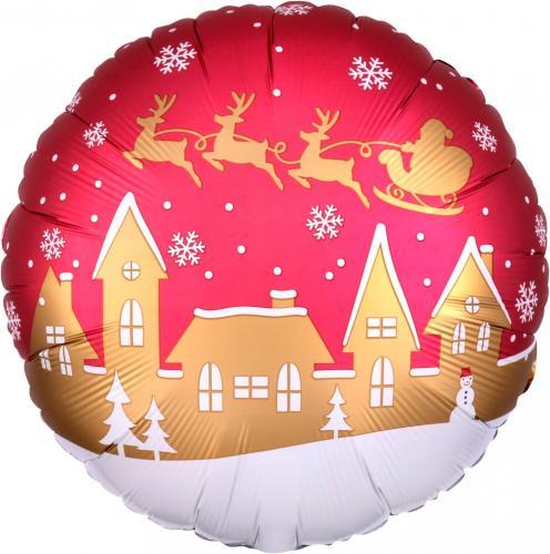 """17"""" (43 cm) Satin Santa's Village"""