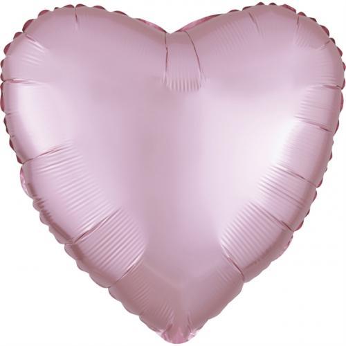 """17"""" (43 cm) Hjärta Satin Luxe Pastellrosa"""