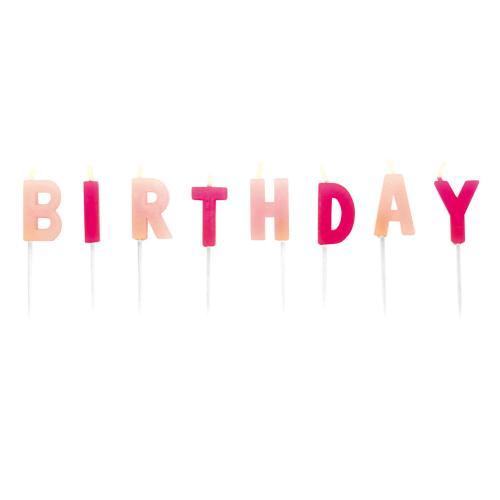 Tårtljus, bokstäver - Happy Birthday