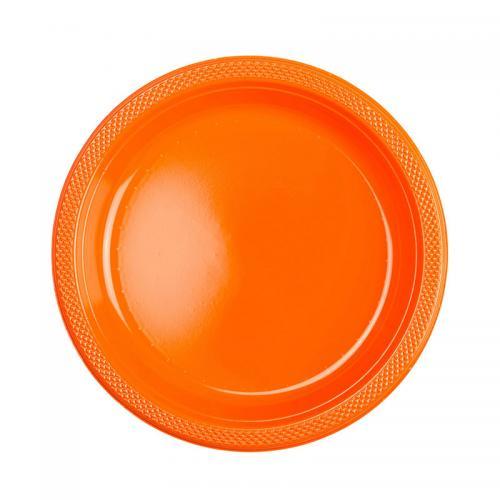 Plasttallrik, orange 22,8 cm