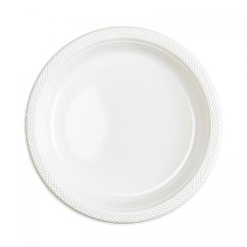 Plasttallrik, vit 22,8 cm