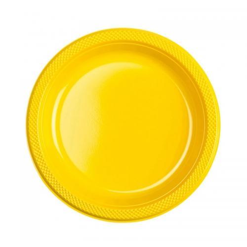 Plasttallrik, gul 22,8 cm