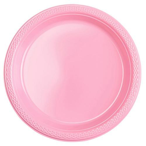 Plasttallrik, rosa 22,8 cm