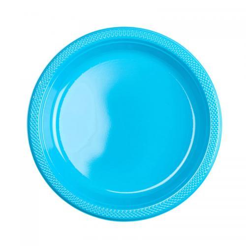 Plasttallrik, turkos 22,8 cm