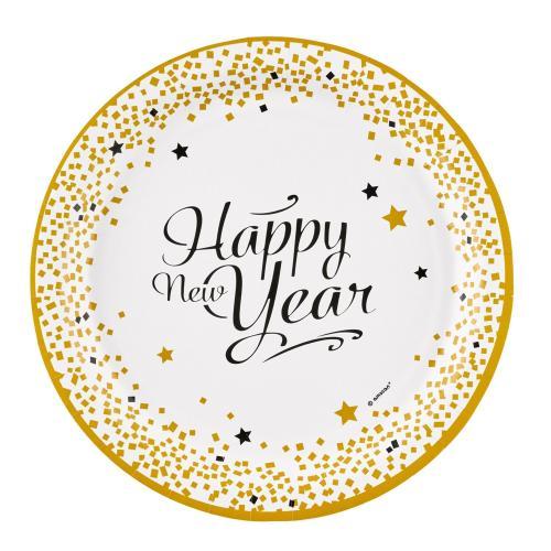 Papperstallrik, Happy New Year, 23 cm