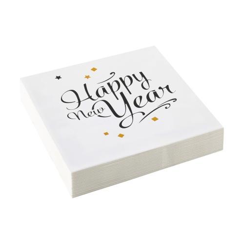 Servett Happy New Year, vit, 33 cm