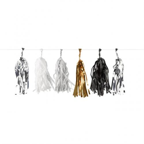 Tassel / tofs girlang - Guld, Svart, Silver & Vit