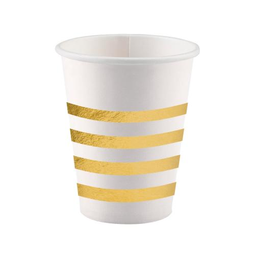 Pappersmugg, guld metallic-rand, 250 ml